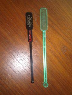 Dewar's & Calvert Graphic Swizzle Sticks Drink Stirrers Set of 2 Swizzles