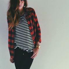 // plaid + stripes