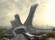 AMLGM envisions urban alloy tower over transportation hub in new york