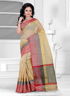Style and design and trend would be at the peak of your splendour as soon as you dresses this beige cotton   casual saree. The ethnic patch border work in the apparel adds a sign of splendour statement for your look. Comes with matching blouse.