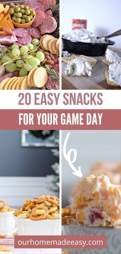 These 20 game day snacks come together in a hurry, and are real crowd-pleasers! Make them ahead of time, and reheat when it's time to chow down. Whether you want sweet or savory, you can find the perfect treat for your next game day get-together. Spend less time in the kitchen, and more time enjoying the big game. Apple Recipes Easy, Easy Soup Recipes, Unique Recipes, Pumpkin Recipes, Amazing Recipes, Football Finger Foods, Football Snacks, Party Finger Foods, Game Day Snacks
