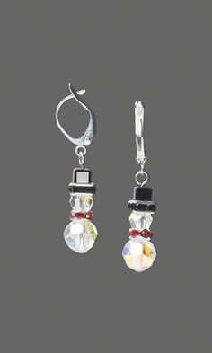 Jewelry Design Snowman Earrings With Swarovski Crystal Fire Mountain Gems And Beads