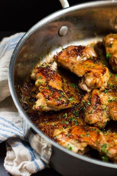 One Skillet Sweet 'n Salty Chicken Thighs | www.kiwiandbean.com