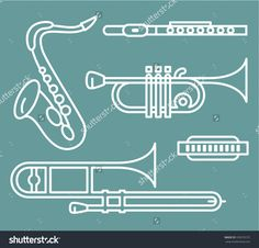 Wind Instruments. Vector Illustration of Wind Instruments. Easily editable neat work. Ilustrator 8+ and all compatible applications.