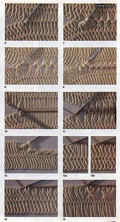 various methods of joining hairpin lace crochet - some a sort of cable using no extra yarn, others basic crochet stitches; just had another look - this is hairpin heaven! scores of detailed charts, pics on hairpin techniques & ideas.