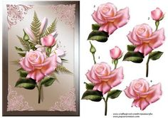 Simply beautiful on Craftsuprint designed by Marijke Kok - Very beautiful easy but Gorgeous card for any occasion...With pink roses on a silk background with pink lace shimmering corners....stunning....(also very nice for a sympathy card) - Now available for download!