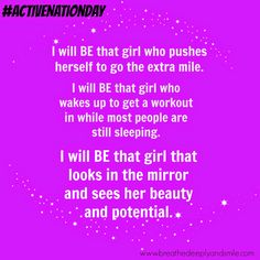 I will BE that girl! Get involved with Lorna Jane's #ActiveNationDay   http://www.breathedeeplyandsmile.com/2014/09/active-nation-day-with-lorna-jane-on.html