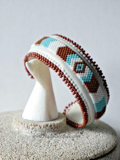 Beaded Bracelet ~ Chevron Design Handmade Cuff ~ Southwest Native American Style ~ Off-Loom Beadwork