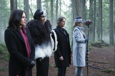 The Queens of Darkness and The Dark One- and is Regina wearing her Robin Hood scarf again? #OutlawQueen baby! Maybe she had some more of those dreams...without crazy alter ego interruptions haha