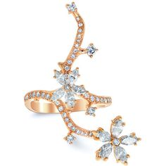 Nature Inspired Blossom Ring ($2,685) ❤ liked on Polyvore featuring jewelry, rings, diamond flower ring, flower ring, flower jewelry, diamond rings and diamond jewellery