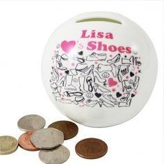Personalised I Love Shoes Money Box :: A fabulous gift idea for any girl featuring her name - In Stock Now! Personalised Money Box, Personalized Gifts For Her, Lisa S, Secret Santa Gifts, Decorative Plates, Christmas Gifts, My Love, Search, Shop