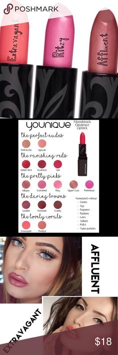 Moodstruck Opulence Lipstick from Younique Blanket your lips in smooth color that glides on effortlessly, provides full coverage and lasts all day without feathering.  Your choice of three colors: Affluent, Extravagant and Ritzy.  See other listings for additional colors. 💐 bundle up for discount up to 10%💐 See bundle listing for details on free shipping. Guaranteed new in box and authentic, I am a Younique Authorized consultant.  Beautiful colors on par with high end cosmetics like MAC…