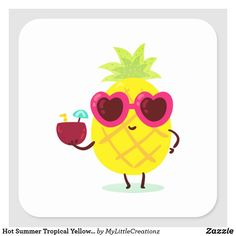 Hot Summer Tropical Yellow Pineapple Square Sticker Pineapple Squares, Cool Stickers, Business Supplies, Party Hats, Funny Cute, Summer Time, Art Pieces, Kids Shop, Tropical
