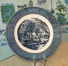 Royal The Old Grist Mill Currier & Ives Blue Dinner Plate (s) USA in Pottery & Glass, Pottery & China, China & Dinnerware