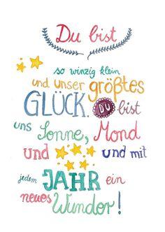 Geschenk zur Geburt: Poster mit Glückwünschen für das Baby / artprint for the baby, birthday gift by Frau Ottilie via DaWanda.com