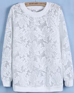 White Round Neck Long Sleeve Loose Lace Sweatshirt US$33.61