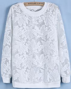 White Round Neck Long Sleeve Loose Lace Sweatshirt - Sheinside.com