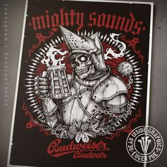 T-shirt design for Mighty Sounds festival and their collaboration with Budweiser Budvar beer brewing company. The original graphic is 45x60 cm (18x25 inches)