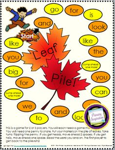 FREE Sight Words Game! Easy prep, easy play, ready for your fall  literacy centers!