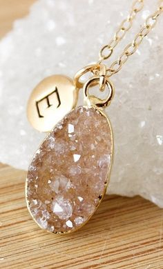 Beautiful monogram druzy necklace - 50% off!