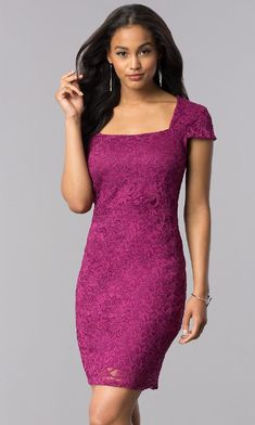 Outlet Delightful Lace Short Lace Cap-Sleeve Party Dress With Back Cut Out Lace Party Dresses, Elegant Dresses, Lace Dress, Prom Dresses, Dress Prom, Formal Dresses Under 100, Purple Lace, Dress For You, Lace Shorts