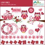 Love owls Valentine clip art