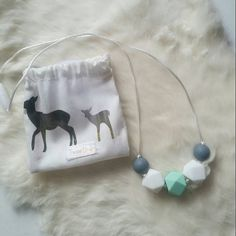 Silicone teething necklace: Mint,grey&white-Silicone Teething Necklace, Silicone Nursing Necklace, Breastfeeding Necklace by TweeOne1 on Etsy