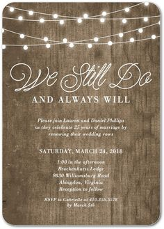 Rustic Backyard - Signature White Vow Renewal Invitations in Wood or Black | Magnolia Press