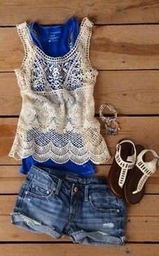 jean shorts, lace tops, blue, summer outfits, crochet top