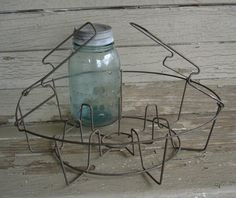 Canning | reserved for cheryl Vintage Farmhouse Wire Canning Jar Basket