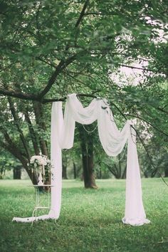 simple chic wedding arch ideas outdoor wedding 15 Budget Friendly Wedding Backdrops and Arches with Trees for Outdoor Weddings - Oh Best Day Ever Tree Wedding, Chic Wedding, Fall Wedding, Rustic Wedding, Wedding White, Garden Wedding, Wedding Table, Wedding Reception, Outdoor Wedding Decorations
