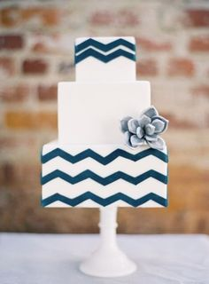 White and Blue Wedding Cake- love how modern and cute this #chevronweddingcake is!