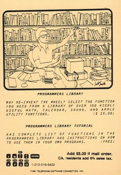 Postcard ad for Programmers Library and Programmers Library Tutorial programs (1981). Telephone, Inventions, Sheet Music, Connection, Software, Math, Phone, Math Resources, Music Sheets