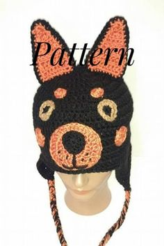 56df6bec Doberman Hat Pattern, Crochet Pattern, Doberman Pinscher, Dog Hat, Crochet  Dog Hat, Dog Crochet Patt
