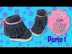 Botas con Flecos tejidas a crochet   parte 1/2 - YouTube