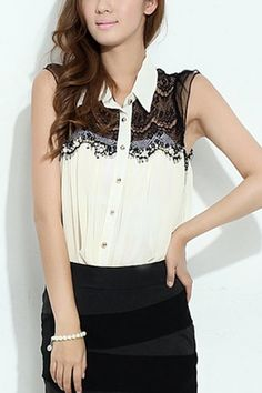 Turndown Collar Lace Top Single Breasted Sleeveless Blouse