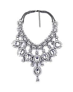 Check the details and price of this Blue Crystal Statement Floral Bib Necklace (Blue, AIMUSHI) and buy it online. VIPme.com offers high-quality Necklaces at affordable price.