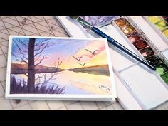 The Frugal Crafter Watercolor Tutorials on YouTube - Sunset