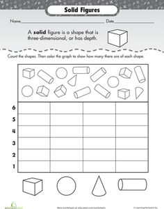 Worksheets: Shape Dimensions: Solid Figures. Too kiddy? Involves data and graphing though...maybe for reteaching??