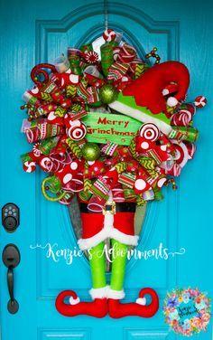 The Grinch Wreath, Christmas Wreath, Deco Mesh Christmas Wreath, Grinch Decor, Merry Grinchmas, How The Grinch Stole Christmas, Grinch by KenziesAdoornments on Etsy