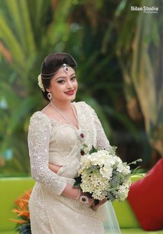 White Saree Wedding, Sari Wedding Dresses, Bride Reception Dresses, Wedding Sarees, Bridal Dresses, Bridesmaid Saree, Bridesmaids, Baptism Dress For Mom, Srilankan Wedding
