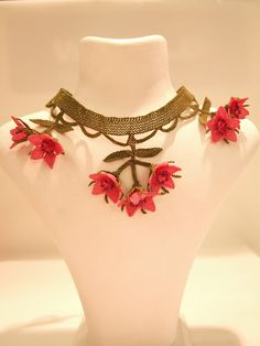 Silk Needle Lace Turkish Oya Necklace With Pink by EvilEyeGiftShop, $65.00