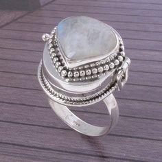 925 Solid STERLING SILVER BEAUTIFUL Rainbow Moonstone RING 10.85g DJR3585 #Handmade #Ring