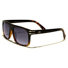Manhattan Mens Wayfarer Sunglasses Black and Brown with Gray Lenses