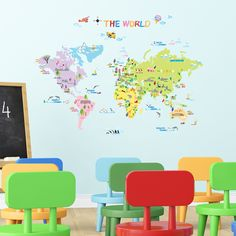 DECOWALL Multicoloured World Map Kids Wall Stickers Wall Decals Peel and Stick Removable Wall Stickers for Kids Nursery Bedroom Living Room Wall Stickers Uk, Nursery Wall Stickers, Removable Wall Stickers, Kids Wall Decals, Childrens Stickers, Xxl Poster, Map Nursery, World Map Wall Decal, Wall Transfers