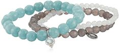 Satya Jewelry Aquamarine Angelite Agate Sterling Silver Sacred Serenity Stretch Bracelet Set. Set of three stackable stretch bracelets featuring faceted bead-shape stones and accented with small charms. Items that are handmade and use natural stones may vary in size, shape, and color. Made in the United States.