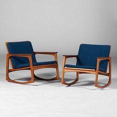 Jacob Kjaer; Teak Rocking Chairs, 1950s.