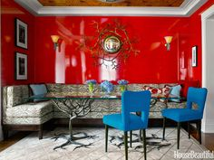 A Small Manhattan Apartment With Surprising, Vibrant Colors. Luscious hues and gleaming surfaces turn a square feet city apartment into an alluring jewel box. Designer Philip Gorrivan created a small colorful apartment with an exotic personality. Living Room Colors, Living Room Decor, Bedroom Decor, Wall Decor, Red Paint Colors, Vibrant Colors, Colorful Apartment, Van Der Straeten, Manhattan Apartment
