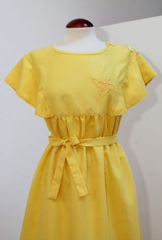 Vintage 80s Yellow Polka Dot Dress por Laimperdible en Etsy