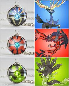 Pokemon Kalos Legendaries pokeball necklaces, Xerneas, Yveltal and Zygarde. Pokemon Go, Pokemon Zelda, Kalos Pokemon, Pokemon Fusion Art, Pokemon Manga, Pokemon Fan Art, Cute Pokemon, Pikachu, Pokemon Memes